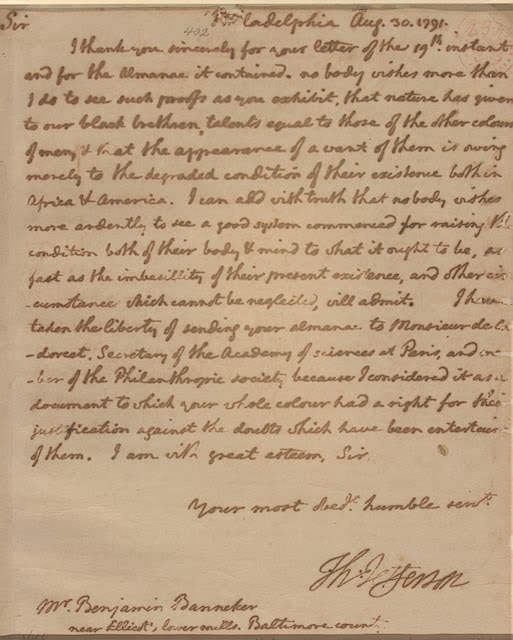 Benjamin Banneker's Letter to Thomas Jefferson
