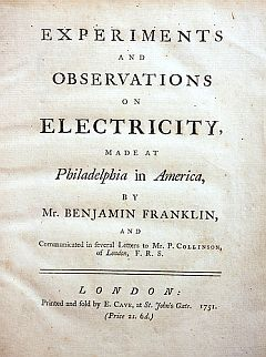 Benjamin Franklin's theories about electricity