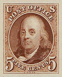 Postage stamp issued in memory of Benjamin Franklin
